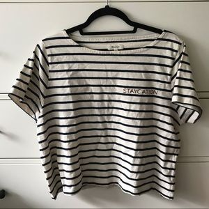 Madewell embroidered staycation striped tee